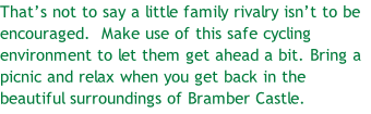 That's not to say a little family rivalry isn't to be encouraged.  Make use of this safe cycling environment to let them get ahead a bit. Bring a picnic and relax when you get back in the beautiful surroundings of Bramber Castle.